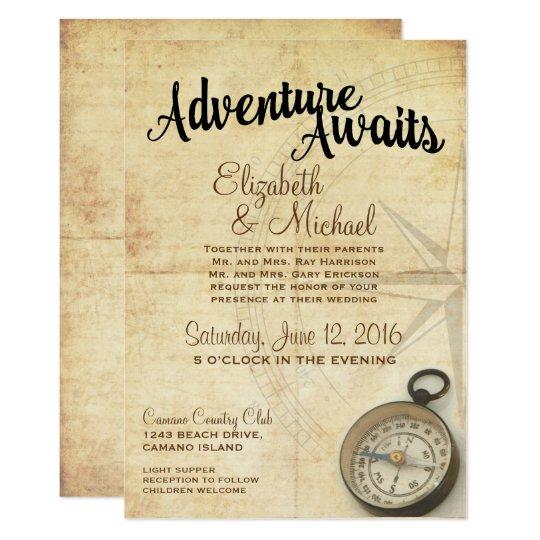 Vintage Adventure Travel Wedding Invitation