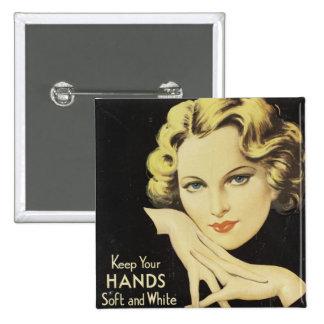 Vintage Advertisement Hand Cream Woman Blond Hair 2 Inch Square Button