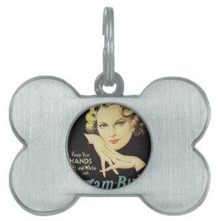 Vintage Advertisement Hand Cream Woman Blond Hair Pet ID Tag