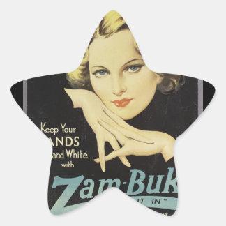 Vintage Advertisement Hand Cream Woman Blond Hair Star Sticker