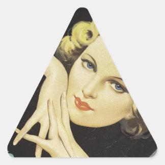 Vintage Advertisement Hand Cream Woman Blond Hair Triangle Sticker