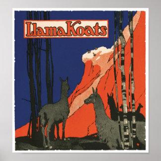 Vintage Advertisement Llamas Art Print Poster