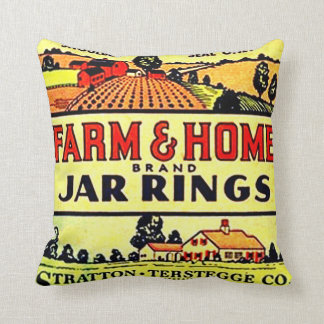 Vintage Advertising Farm Home Canning Fruit Jars Throw Pillow