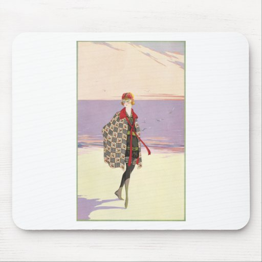 Vintage Advertising - Girl on Beach Mousepads