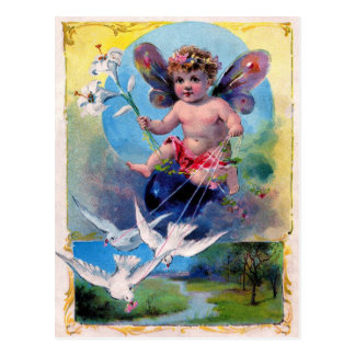 Vintage Advertising Litho - Cherub & Doves Postcard