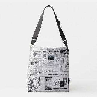 Vintage Advertising Newspaper Crossbody Bag