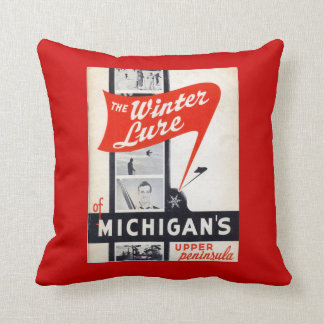 Vintage advertising, Winter Lure, Michigans Throw Pillow