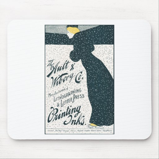 Vintage Advertising  - Woman Skating in Snow Storm Mousepad