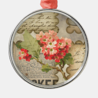 Vintage advertisting flowers scraps handwriting Silver-Colored round ornament