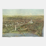 Vintage Aerial Antique City Map of Washington DC