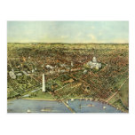 Vintage Aerial Antique City Map of Washington DC Post Cards