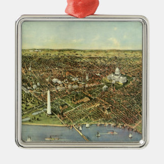 Vintage Aerial Antique City Map of Washington DC Silver-Colored Square Ornament