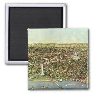Vintage Aerial Antique City Map of Washington DC Square Magnet