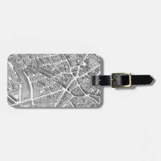 Vintage Aerial Paris Map Luggage Tag