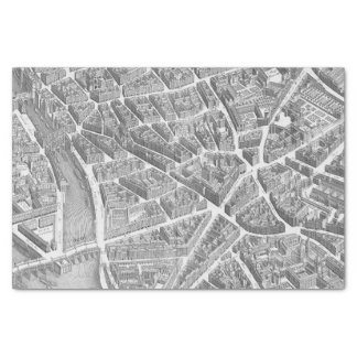 Vintage Aerial Paris Map Tissue Paper