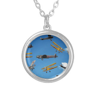 vintage aeroplane design silver plated necklace