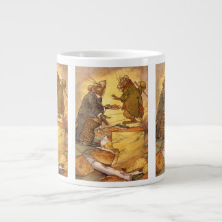 Vintage Aesop's Fable, Country Mouse, City Mouse Giant Coffee Mug