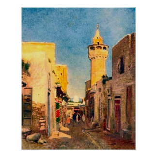 Vintage africa, North Africa, street with minaret Poster