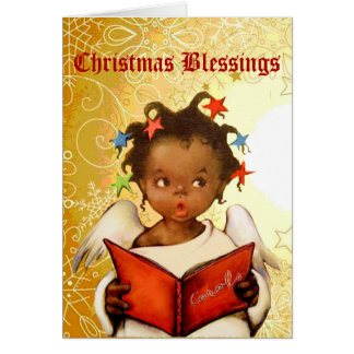 Vintage African American Angel Christmas Card