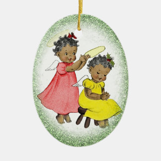 Vintage African American Girl Christmas Ornament