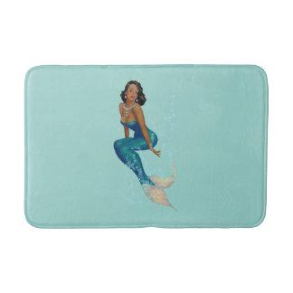 Vintage African American Pinup Mermaid in Diamonds Bath Mat