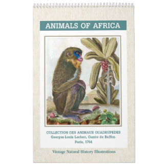 Vintage African Animals Illustrations 2018 Calendars