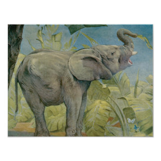 """Vintage African Elephant in the Jungle, EJ Detmold 4.25"""" X 5.5"""" Invitation Card"""