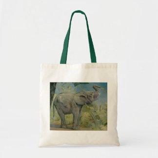Vintage African Elephant in the Jungle, EJ Detmold Budget Tote Bag