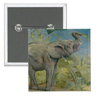 Vintage African Elephant in the Jungle EJ Detmold Pinback Button