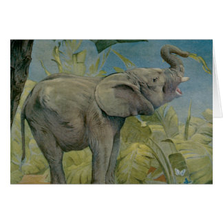 Vintage African Elephant in the Jungle, EJ Detmold Greeting Card