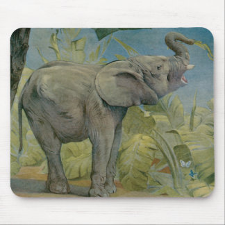 Vintage African Elephant in the Jungle, EJ Detmold Mouse Pad
