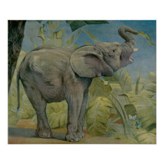 Vintage African Elephant in the Jungle, EJ Detmold Poster
