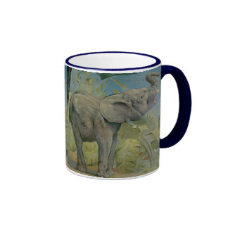 Vintage African Elephant in the Jungle, EJ Detmold Ringer Coffee Mug
