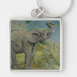 Vintage African Elephant in the Jungle, EJ Detmold Silver-Colored Square Keychain