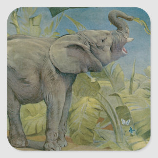 Vintage African Elephant in the Jungle, EJ Detmold Square Stickers