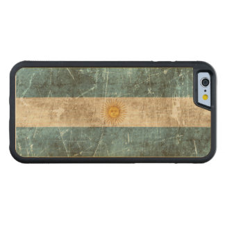 Vintage Aged and Scratched Flag of Argentina Carved Maple iPhone 6 Bumper Case
