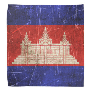 Vintage Aged and Scratched Flag of Cambodia Bandana