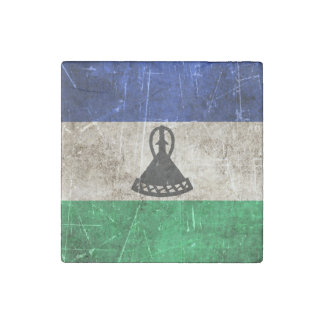 Vintage Aged and Scratched Flag of Lesotho Stone Magnets