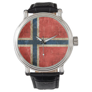 Vintage Aged and Scratched Flag of Norway Wrist Watches