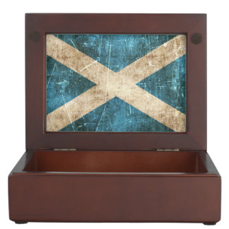 Vintage Aged and Scratched Flag of Scotland Keepsake Box