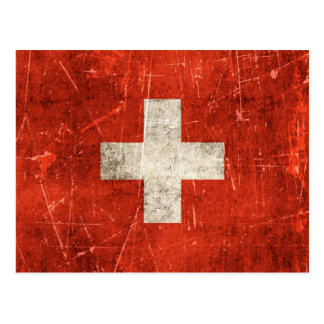 Vintage Aged and Scratched Flag of Switzerland Post Card