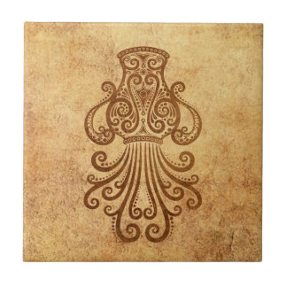 Vintage Aged Aquarius Zodiac Tile