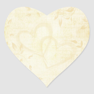 Vintage Aged Paper Wedding Heart Sticker