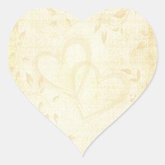 Vintage Aged Paper Wedding Heart Sticker