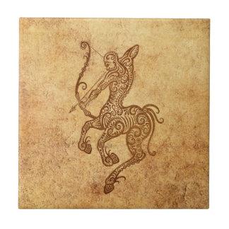 Vintage Aged Sagittarius Zodiac Tile