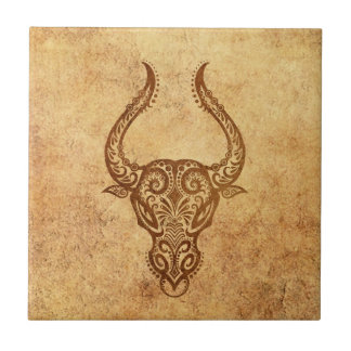 Vintage Aged Taurus Zodiac Tile