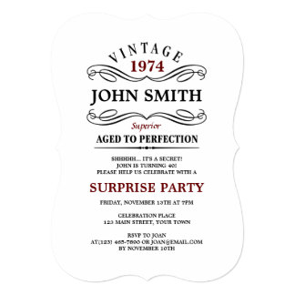 Vintage Aged to Perfection Funny Birthday Invitation