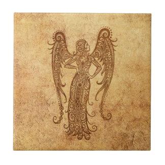 Vintage Aged Virgo Zodiac Tile