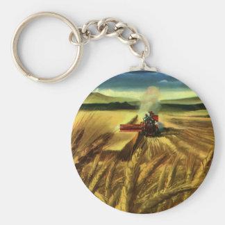 Vintage Agricultural Business, Wheat Farming Farm Basic Round Button Keychain