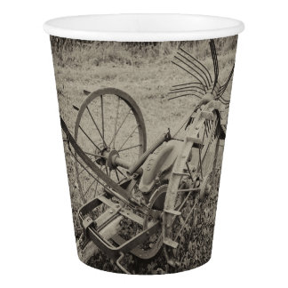 Vintage agricultural machine paper cup